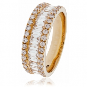Diamond Baguette Half Eternity Ring 1.50ct, 18k Rose Gold