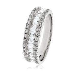 Diamond Baguette Half Eternity Ring 0.90ct, 18k White Gold