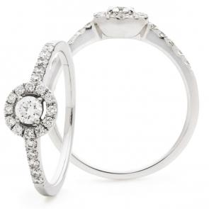 Diamond Halo Engagement Ring 0.40ct, 18k White Gold