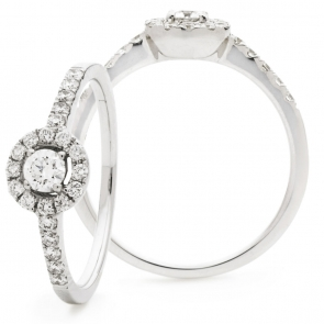 Diamond Halo Engagement Ring 0.75ct, 18k White Gold