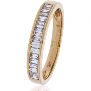 Diamond Baguette Half Eternity Ring 0.50ct, 18k Rose Gold