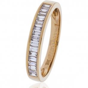Diamond Baguette Half Eternity Ring 0.50ct, 18k Rose Gold