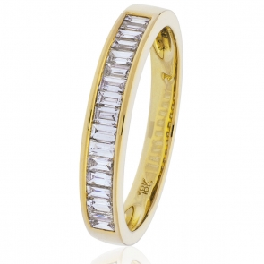 Diamond Baguette Half Eternity Ring 0.50ct, 18k Gold