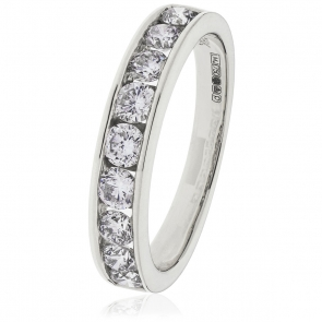 Diamond Channel Set Half Eternity Ring 1.00ct, Platinum