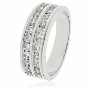 Diamond Half Eternity Ring 0.75ct, 18k White Gold