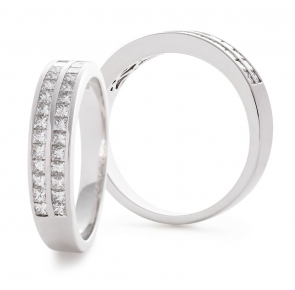Diamond Half Eternity Ring 0.85ct, 18k White Gold