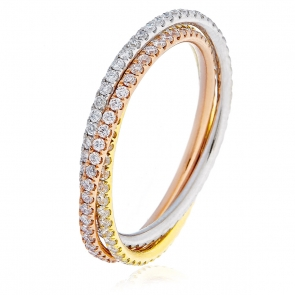 Diamond Trio Full Eternity Set 1.00ct, 18k Gold