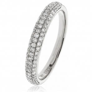 Diamond Pave Set Half Eternity Ring 0.55ct, 18k White Gold