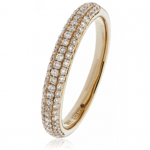 Diamond Pave Set Half Eternity Ring 0.55ct, 18k Rose Gold