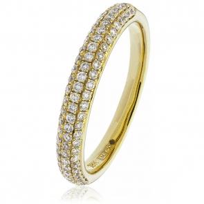 Diamond Pave Set Half Eternity Ring 0.55ct, 18k Gold