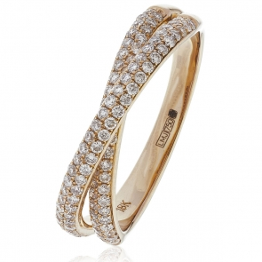 Diamond Pave Cross-Over Ring 0.50ct, 18k Rose Gold