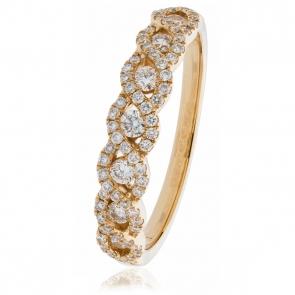Diamond Half Eternity Plait Ring 0.50ct, 18k Rose Gold