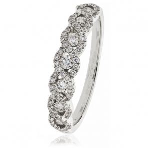 Diamond Half Eternity Plait Ring 0.50ct, 18k White Gold
