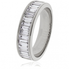 Diamond Baguette Half Eternity Ring 1.30ct, 18k White Gold