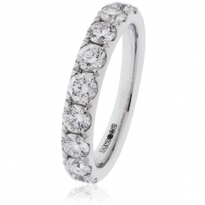 Diamond Half Eternity Ring 1.35ct. 18k White Gold, 3.6mm
