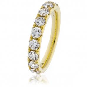 Diamond Half Eternity Ring 1.35ct. 18k Gold, 3.6mm