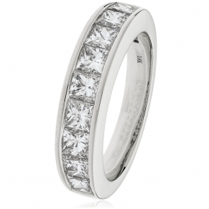 Diamond Princess Half Eternity Ring 1.50ct, 18k White Gold