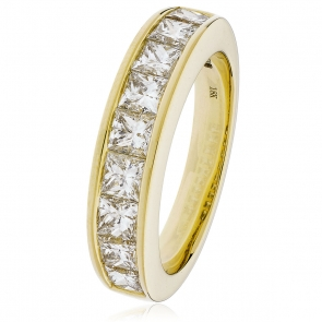 Diamond Princess Half Eternity Ring 1.50ct, 18k Gold