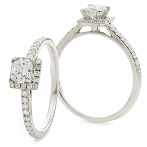 Diamond Princess Engagement Ring 0.75ct, 18k White Gold