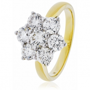 Diamond Cluster Seven Stone Ring 1.60ct, 18k Gold