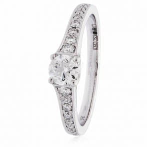 Engagement Ring with Tapered Shoulder Diamonds, 18k White Gold