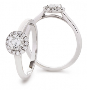 Diamond Halo Engagement Ring, 18k White Gold