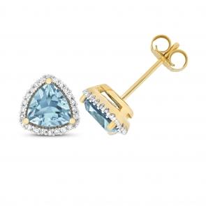 Blue Topaz & Diamond Trillion Stud Earrings, 9k Gold
