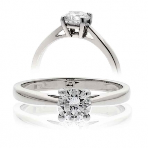Classic Diamond Solitaire Engagement Ring 0.90ct, 18k White Gold