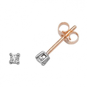 Classic Diamond Stud Earrings 0.10ct. 9k Gold, 2.5mm