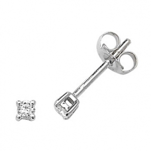 Classic Diamond Stud Earrings 0.10ct. 9k White Gold, 2.5mm