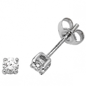 Classic Diamond Stud Earrings 0.33ct, 18k White Gold