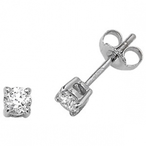 Classic Diamond Stud Earrings 0.40ct, 18k White Gold
