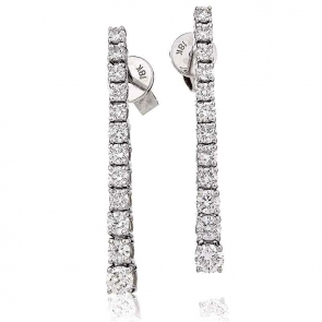 Diamond 12 Stone Drop Earrings 1.20ct, 18k White Gold