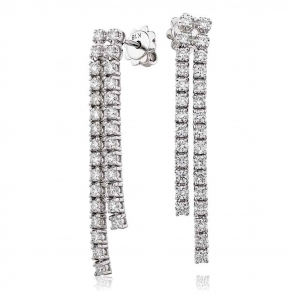 Diamond 2 Strand Drop Earrings 1.90ct, 18k White Gold
