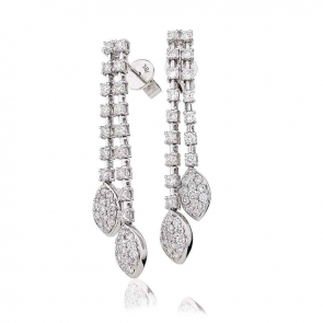 Diamond 2 Strand Marquise Drop Earrings 1.40ct, 18k White Gold