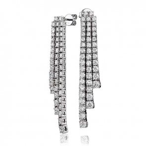 Diamond 3 Strand Drop Earrings 5.42ct, 18k White Gold