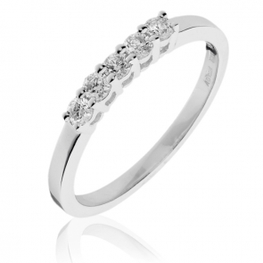 Diamond 5 Stone Ring 0.30ct, 18k White Gold