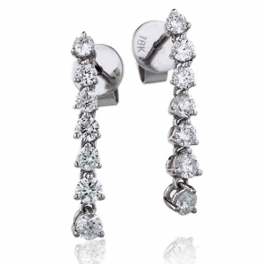 Diamond 7 Stone Drop Earrings 0.75ct, 18k White Gold