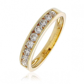 Diamond 9 Stone Half Eternity Ring 0.50ct, 18k Gold