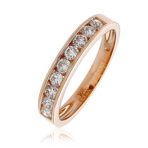 Diamond 9 Stone Half Eternity Ring 0.50ct, 18k Rose Gold