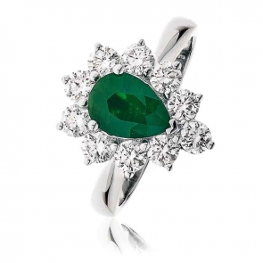 Diamond & Pear Cut Emerald Ring 2.44ct, 18k White Gold