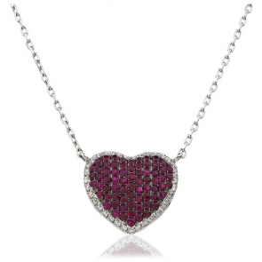 Ruby & Diamond Pave Heart Pendant Necklace 1.15ct