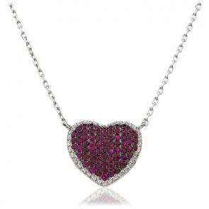 Ruby & Diamond Pave Heart Pendant Necklace 1.15ct
