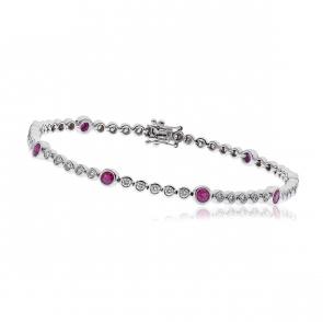 Diamond & Ruby Tennis Bracelet 2.75ct H/SI, 18k White Gold