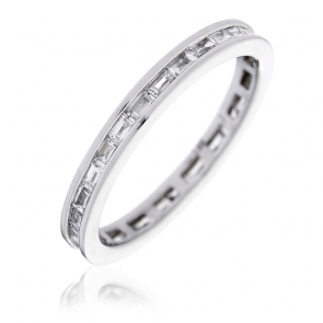 Diamond Baguette Eternity Ring 0.50ct, 18k White Gold