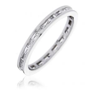 Diamond Baguette Eternity Ring 0.50ct, 18k White Gold