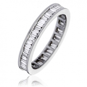 Diamond Baguette Eternity Ring 1.15ct, 18k White Gold