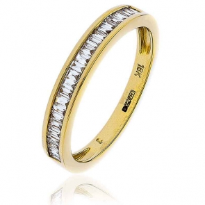 Diamond Baguette Half Eternity Ring 0.25ct, 18k Gold