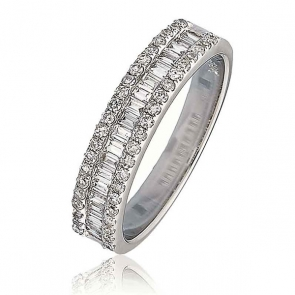 Diamond Baguette Half Eternity Ring 0.50ct, 18k White Gold