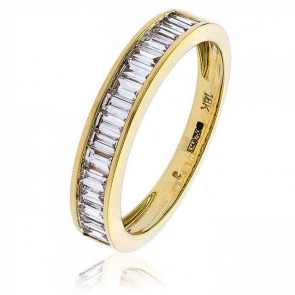 Diamond Baguette Half Eternity Ring 0.75ct, 18k Gold